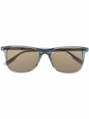 Солнцезащитные очки в прямоугольной оправе Montblanc. Цвет: синий
