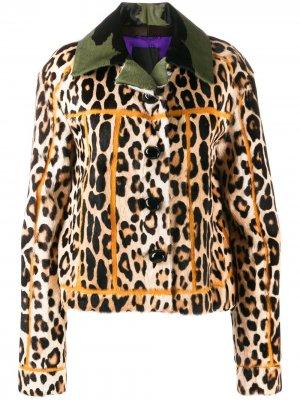 Куртка с леопардовым принтом Liska. Цвет: нейтральные цвета