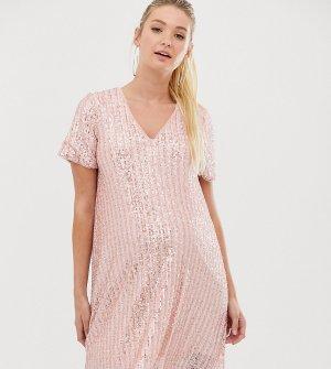 Платье-футболка с полосками и пайетками розового серебристого цвета -Мульти TFNC Maternity