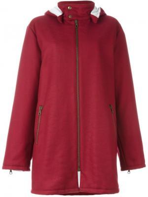 Пальто с капюшоном Romeo Gigli Pre-Owned. Цвет: красный