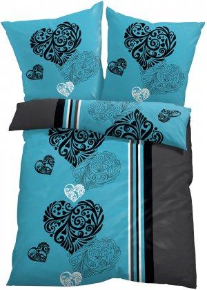 Постельное белье с узором в виде сердец bonprix. Цвет: синий