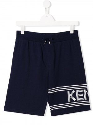Шорты на шнурке с логотипом Kenzo Kids. Цвет: синий