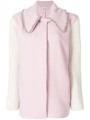Пальто с отделкой на воротнике Au Jour Le. Цвет: розовый и фиолетовый