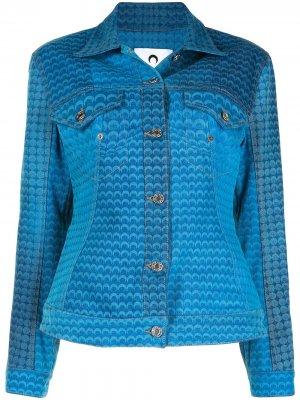 Джинсовая куртка Moon Fish Skin с узором Marine Serre. Цвет: синий