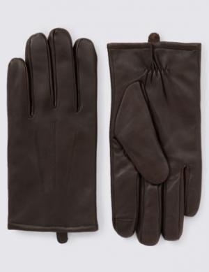 Кожаные перчатки Touchscreen с технологией Thinsulate™ M&S Collection. Цвет: коричневый