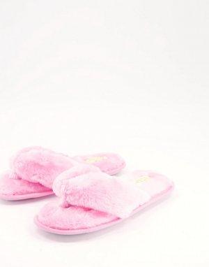 Розовые слиперы с перемычкой между пальцами из искусственного меха -Розовый цвет Truffle Collection