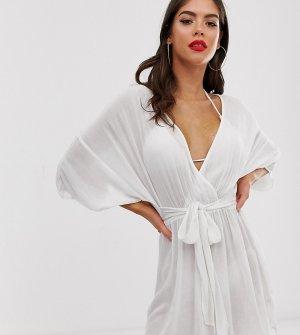 Белая пляжная накидка с завязкой на талии и рукавами-кимоно ASOS DESIGN Tall-Белый Tall