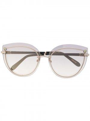 Декорированные солнцезащитные очки Chopard Eyewear. Цвет: золотистый