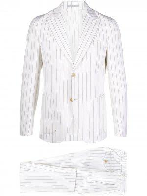 Полосатый костюм с однобортным пиджаком Eleventy. Цвет: нейтральные цвета