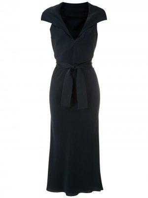 Платье миди с завязками на талии Gloria Coelho. Цвет: синий