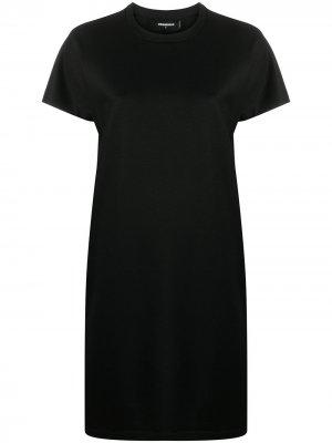 Платье тонкой вязки с короткими рукавами Dsquared2. Цвет: черный