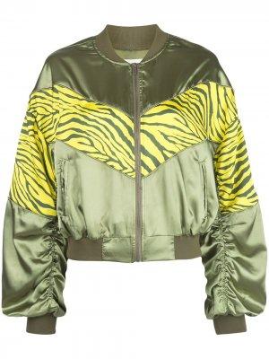 Куртка-бомбер с зебровым принтом Apparis. Цвет: зеленый