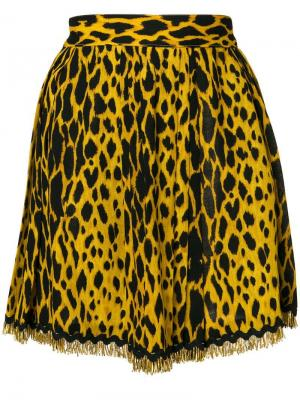 Юбка мини с леопардовым узором Versace Pre-Owned. Цвет: желтый
