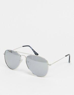 Серебристые солнцезащитные очки-авиаторы в стиле унисекс -Золотистый AJ Morgan