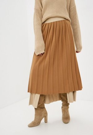 Юбка Katya Erokhina Corrugation Beige. Цвет: коричневый