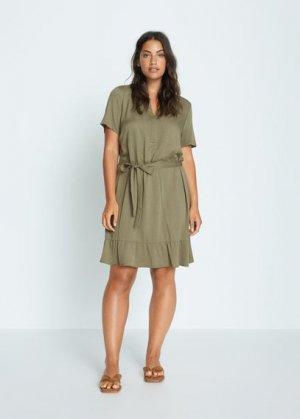 Короткое струящееся платье - Clarita7 Mango. Цвет: хаки