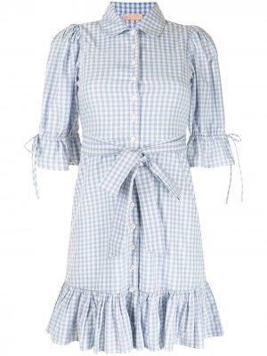 Клетчатое платье-рубашка с поясом byTiMo. Цвет: синий