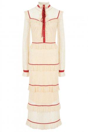 Бежевое платье с контрастной отделкой LAROOM. Цвет: бежевый