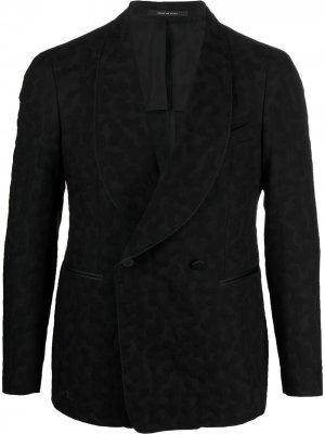 Двубортный пиджак с леопардовым принтом Tagliatore. Цвет: черный