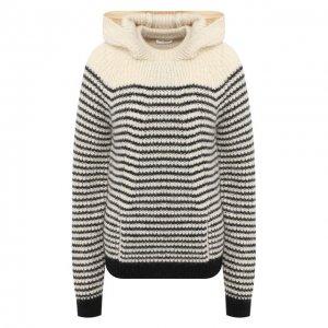 Пуловер с капюшоном Saint Laurent. Цвет: белый