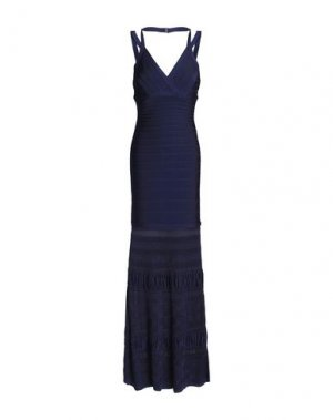 Длинное платье HERVÉ LÉGER. Цвет: темно-синий