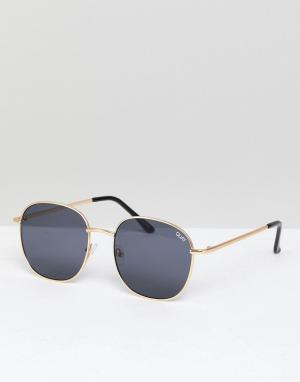 Круглые солнцезащитные очки в золотистой оправе Jezabell-Золотой Quay Australia