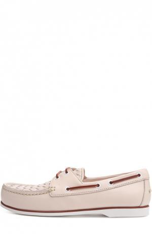 Топсайдеры с контрастной шнуровкой Bottega Veneta. Цвет: светло-розовый