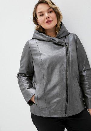 Куртка кожаная Le Monique. Цвет: серый