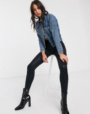 Короткая джинсовая куртка с карманами в стиле милитари -Синий Only