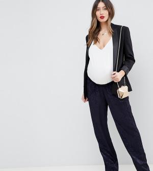 Мягкие жаккардовые брюки в строгом стиле ASOS DESIGN Maternity-Темно-синий Maternity