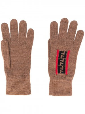 Перчатки с логотипом Zucca Fendi. Цвет: нейтральные цвета