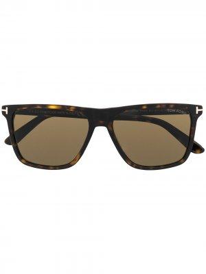 Солнцезащитные очки Fletcher в квадратной оправе TOM FORD Eyewear. Цвет: коричневый