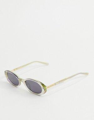 Овальные солнцезащитные очки с зеленой и серой отделкой -Зеленый Hot Futures
