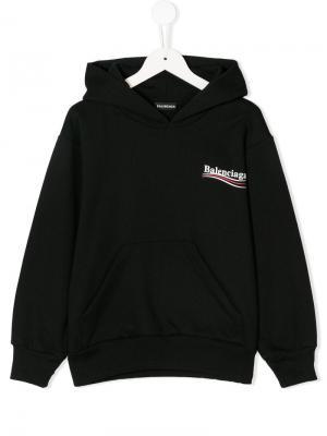 Толстовка с капюшоном и логотипом Balenciaga Kids. Цвет: черный
