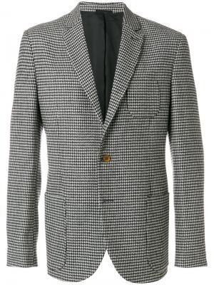 Пиджак с узором в ломаную клетку Ermanno Scervino. Цвет: серый