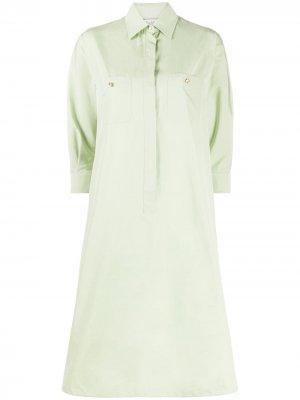 Платье-рубашка по колено Max Mara. Цвет: зеленый