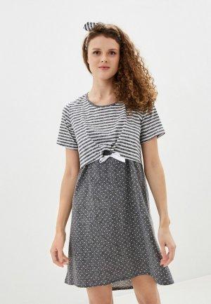 Платье домашнее All Mixes. Цвет: серый