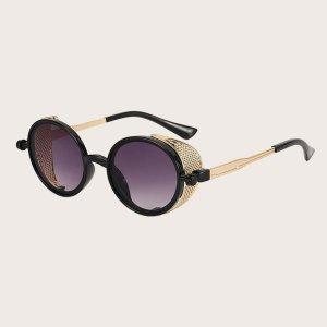 Детский Солнцезащитные очки в геометрической оправе SHEIN. Цвет: чёрный