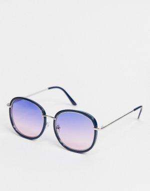 Синие солнцезащитные очки в круглой оправе -Голубой AJ Morgan