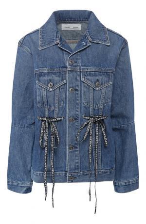 Джинсовая куртка с потертостями Proenza Schouler. Цвет: голубой