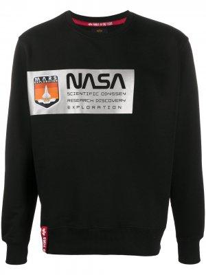 Толстовка с принтом NASA Alpha Industries. Цвет: черный