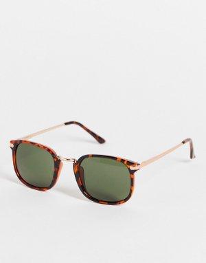 Коричневые квадратные солнцезащитные очки в стиле унисекс -Коричневый цвет AJ Morgan