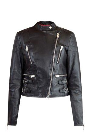Утепленная кожаная куртка с отделкой в стиле глэм-рок ERMANNO SCERVINO. Цвет: черный