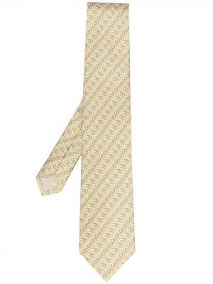 Жаккардовый галстук с узором Gancini Salvatore Ferragamo. Цвет: желтый