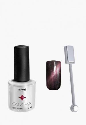 Набор для ухода за ногтями Runail Professional магнит и Гель-лак Cat's eye серебристый блик, цвет: Японская кошка. Цвет: серебряный
