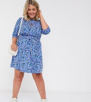 Короткое приталенное платье с цветочным принтом и поясом -Мульти Simply Be