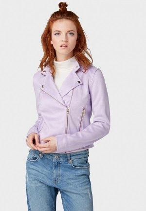 Куртка кожаная Tom Tailor Denim. Цвет: фиолетовый