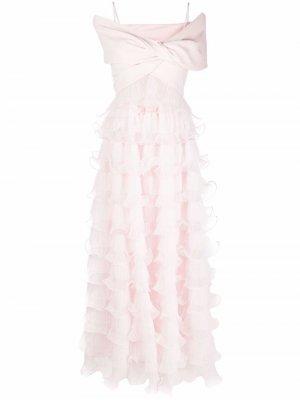 Платье с оборками Giambattista Valli. Цвет: розовый