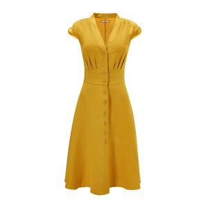Платье-миди расклешенное приталенного покроя с короткими рукавами JOE BROWNS. Цвет: желтый
