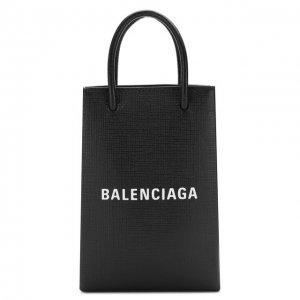 Кожаный чехол Shopping для телефона Balenciaga. Цвет: чёрный